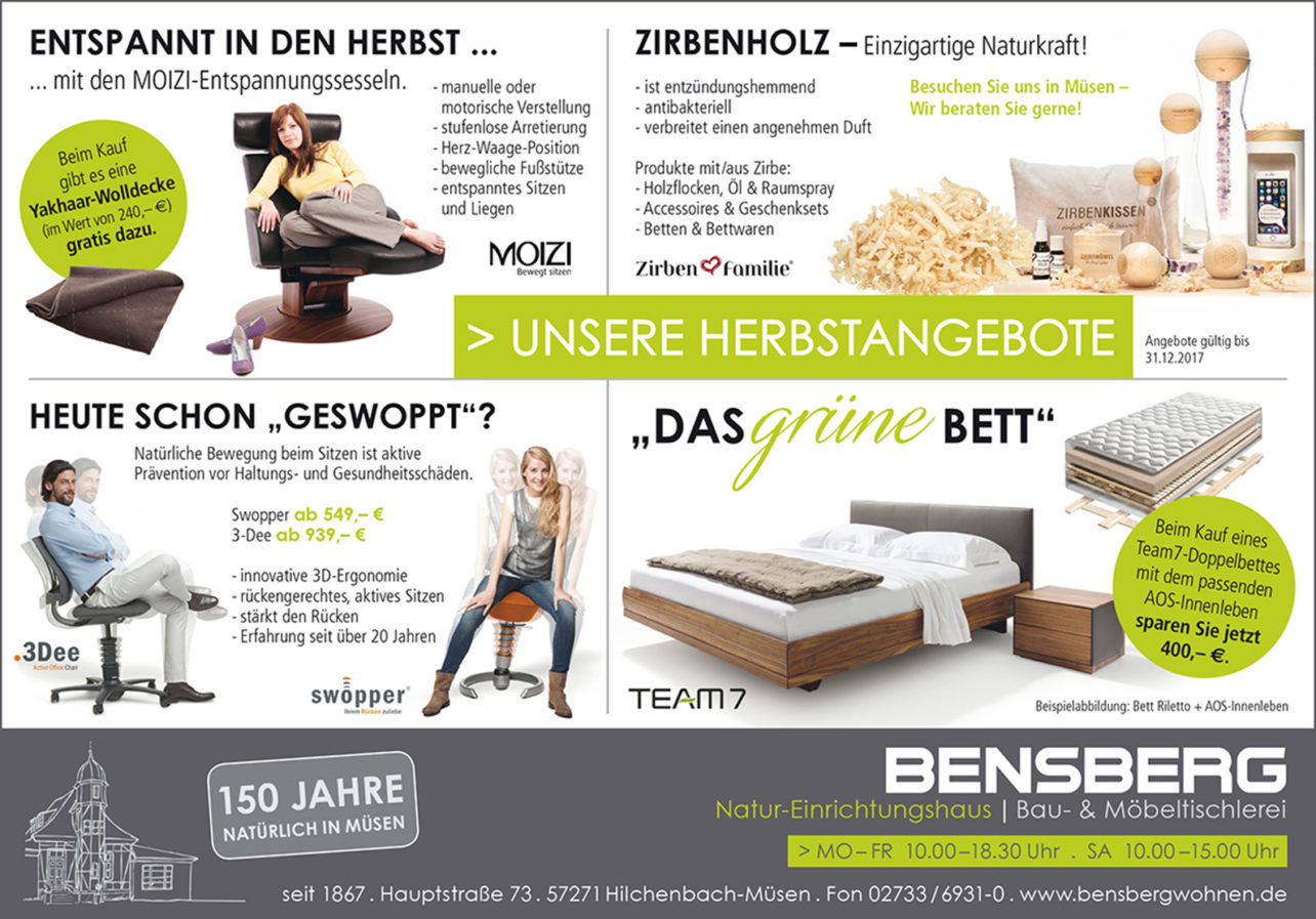 Bensberg Wohnen, Möbel Siegen, Moizi, Zirbe, Zirbenfamilie, Aeris, Swopper, 3Dee, team7, Grünes Bett