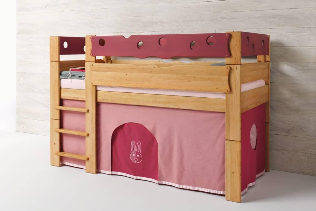 Höhlenbett MOBILE Farbwelt Kaninchen in rosa. Bett Mobile in Erle.