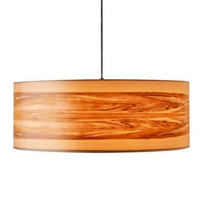 Hängeleuchte mit Lampenschirm aus Nussbaum-Furnier, an