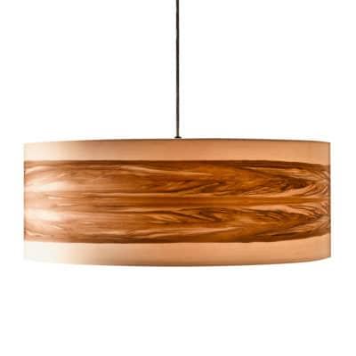 Hängeleuchte mit Lampenschirm aus Nussbaum-Furnierholz, aus