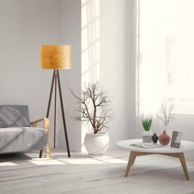 Stehleuchte Ligno mit Echtholz-Lampenschirm, Furnier Kirschbaum, aus