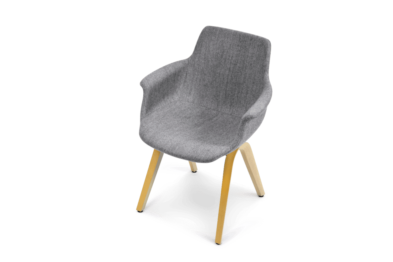 ergonomischer Esszimmerstuhl M41 in grauem Wollstoff, mit Armlehnen