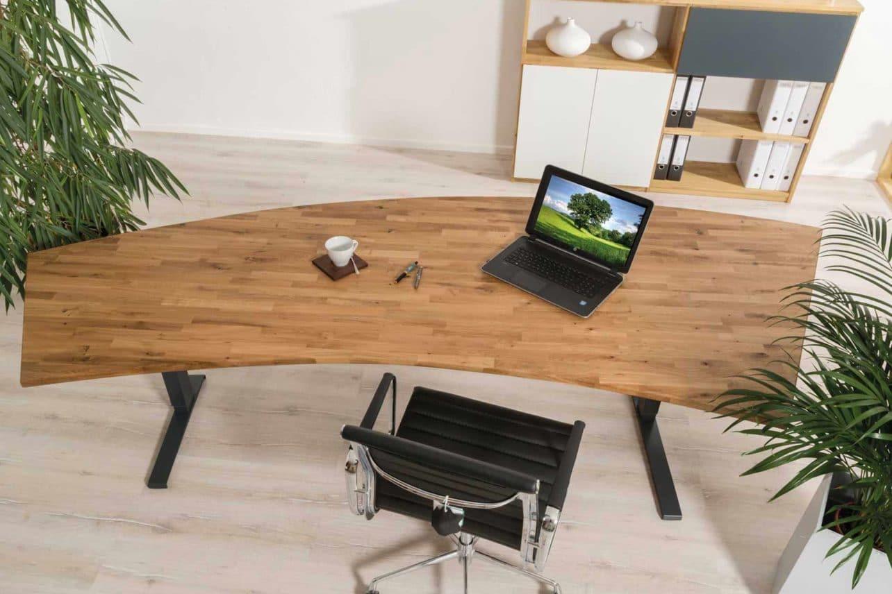 Eiche-Massivholz-Schreibtischplatte in Freiform
