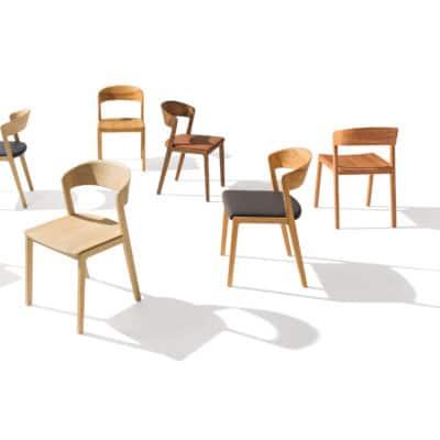 Mylon Stuhl mit und ohne Sitzpolster in verschiedenen Holzarten.