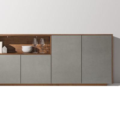 Anrichte Filigno von Team7 in Nussbaum mit Keramik in Optik 'cement'