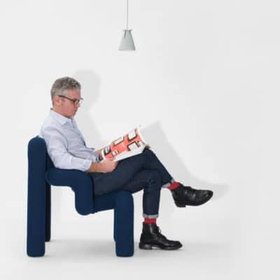 ergonomischer Relaxsessel Ekstrem mit blauem Bezug